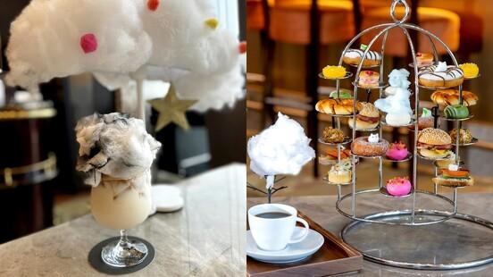 夢幻到捨不得吃!六福萬怡酒店「雲朵甜甜圈下午茶」再升級,看繽紛雲朵在咖啡中融化超療癒