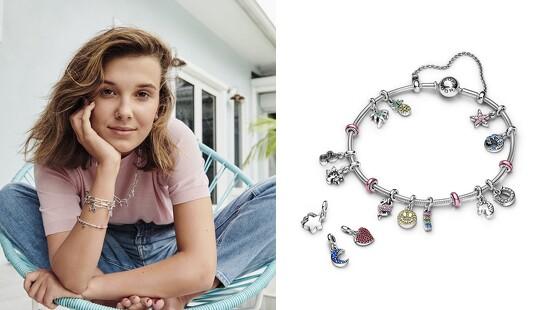 Pandora攜手《怪奇物語》Millie Bobby Brown推出全新Pandora Me系列,把海龜、紅鶴、海星化為飾品