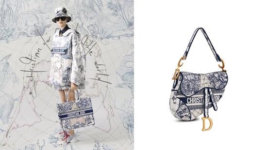 Dior把馬鞍包、托特袋、穆勒鞋換上幸運星印花,推出全新Around The World藝術圖騰限定系列