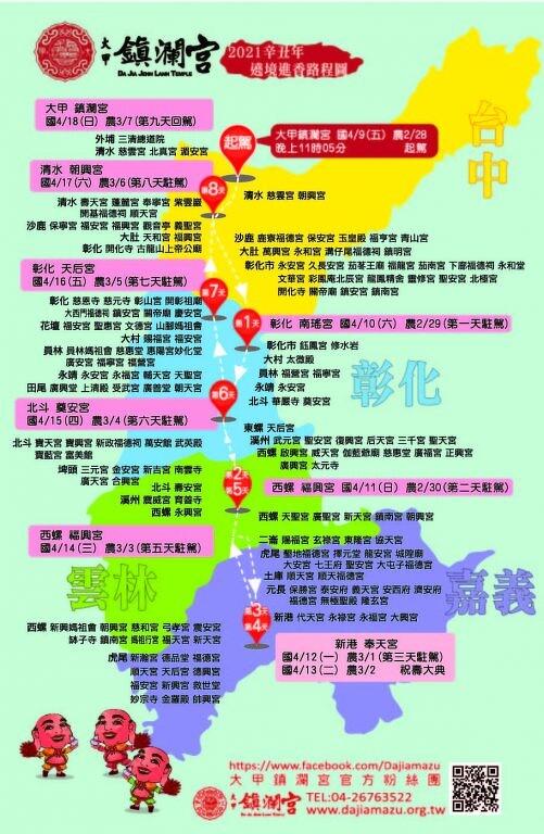 2021大甲鎮瀾宮繞境路線圖