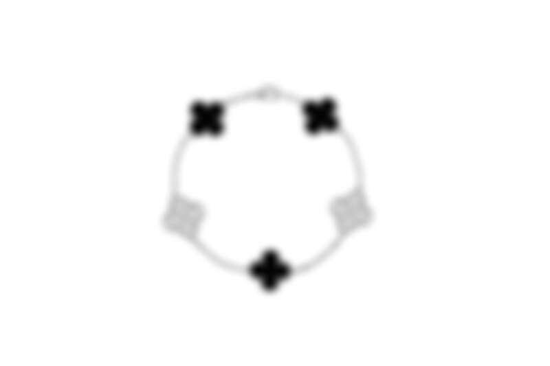 Vintage Alhambra白K金手鍊,縞瑪瑙、白K金鑲鑽5枚墜飾。