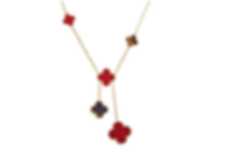 Magic Alhambra系列項鍊,紅玉髓、虎眼石 6枚墜飾。