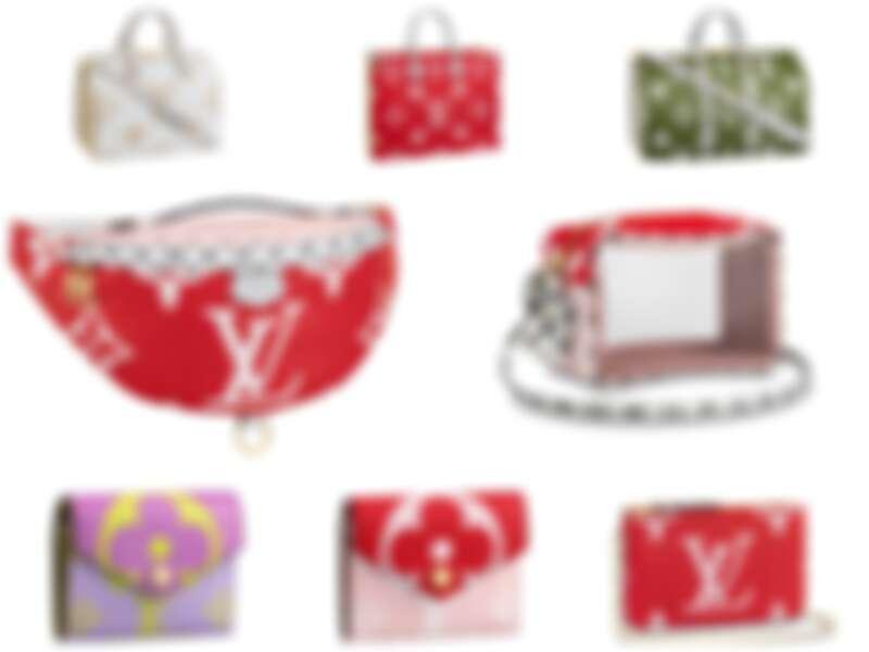 左上乳白色Speedy,NT65,000;中上紅色方形Tote Bag,NT79,000;中間左邊紅色腰包,NT66,500;中間右邊小包,NT29,900;左下、中下,錢包,各NT17,300;右下LOGO鍊帶方包,NT34,600。