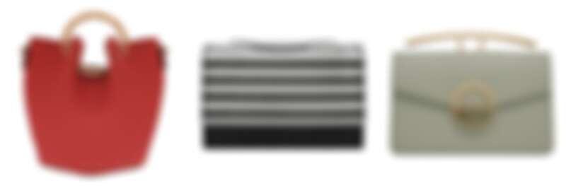 竹子提柄水桶包NT2,490、亮片經典斜背包NT2,190、石紋圓扣肩背包NT2,290
