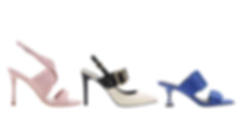 交叉帶高跟涼鞋NT1,990、鉚釘尖頭高跟鞋NT1,790、雙扣環拖鞋NT1,690
