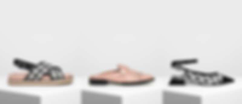 草編交叉帶涼鞋NT1,790、流蘇平底穆勒鞋NT1,690、點點繞踝粗跟鞋NT2,390