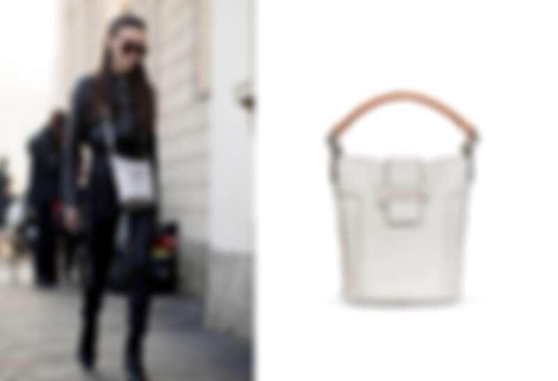 俄羅斯時尚部落客Mary Leest與TOD'S Double T白色牛皮水桶包