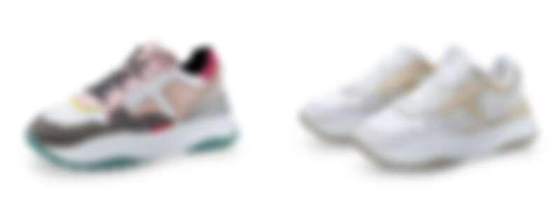TOD'S T LOGO拼接色科技布料休閒女鞋/米白色科技布料休閒女鞋