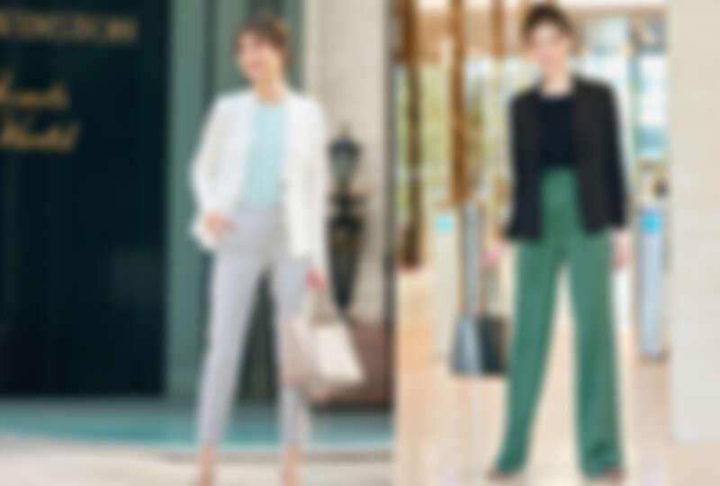 白色無領單釦西裝外套、水綠色圓領襯衫、淺灰八分褲、黑西裝外套、黑色圓領針織上衣、冷杉綠寛管褲all by ICB