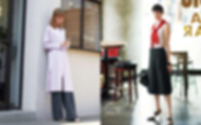 針織口袋長罩衫、丹寧灰藍色長寬褲all by ICB.紅色針織衫、條紋圓領無袖襯衫、口袋A字及膝裙、尖頭跟鞋all by ICB