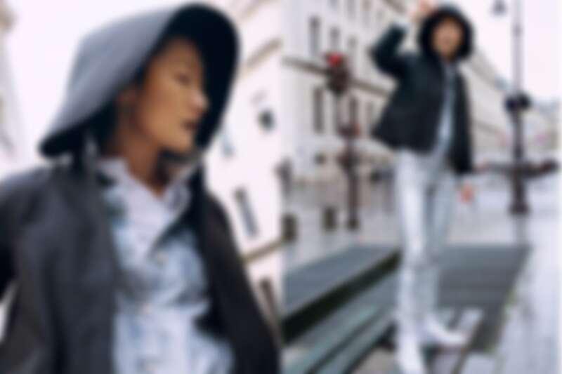 黑色連帽外套、白色中式剪裁襯衫,both by 夏姿;丹寧外套、銀色長褲、白色球鞋,孫怡私有。