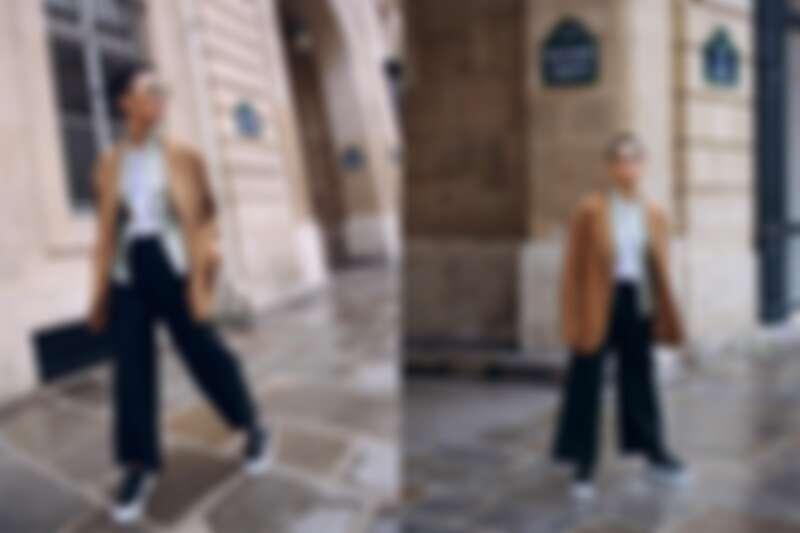 湖水綠中式上衣、黑色寬版長褲、厚底休閒鞋,all by 夏姿;白色T-shirt、駝色大衣、墨鏡,孫怡私有。