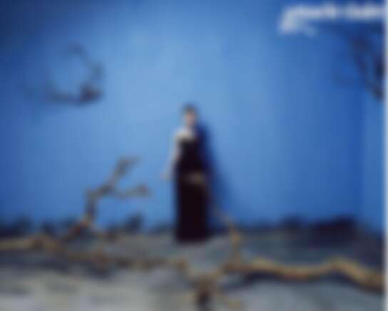 Givenchy藍色單肩長袖、抹胸長裙