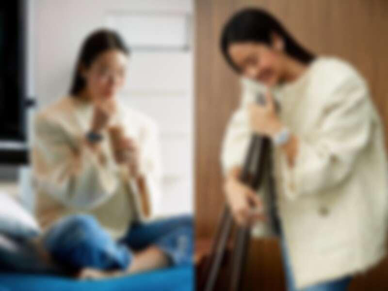 白色款J12腕錶、Coco Crush系列戒指、耳環、塗鴉感背心上衣、白色毛呢外套、牛仔褲、皮革短靴,all by Chanel。