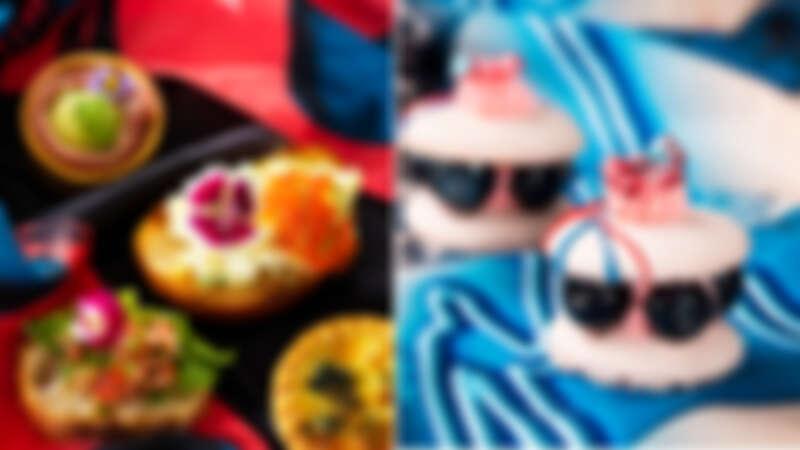 (左)經典綜合義式鹹點(右)蝴蝶結粉紅藍莓馬卡龍