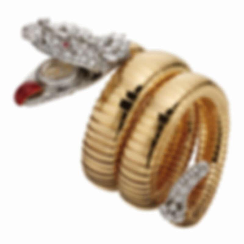 創作於1958年的BVLGARI Heritage典藏系列Serpenti Tubogas黃金與鉑金手鐲腕錶,私人收藏。