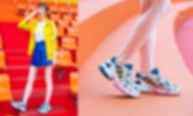 寶藍緞面花苞運動短褲NT1,890,白色螢光LOGO短TEE,NT1,090,鮮黃運動外套NT2,890,全新EQT GAZELLE撞色鞋款NT3,890