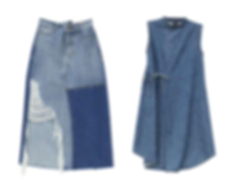 跳色拼接大割破牛仔長裙NT$2,090、中藍立領腰綁帶牛仔洋裝NT$2,490