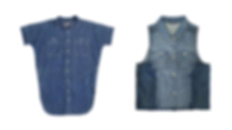 百搭側開岔牛仔襯衫NT1,990、跳色拼接牛仔背心NT2,090