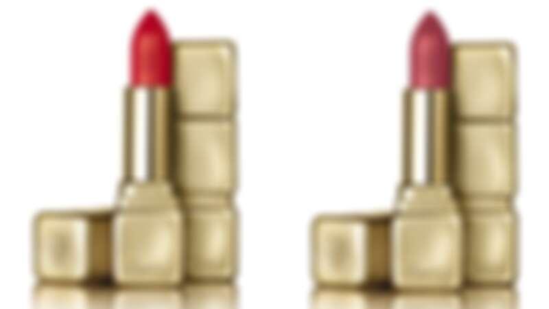 嬌蘭KISSKISS法式之吻華麗絲霧唇膏(左)#M347、(右)#M375。