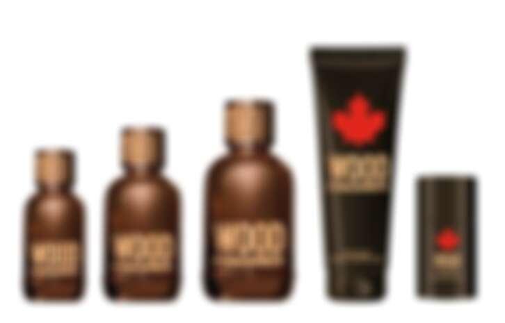 (左至右)WOOD・天性男性淡香水30ml、50ml、100ml,WOOD・天性男性沐浴精250ml,WOOD・天性男性體香膏75ml