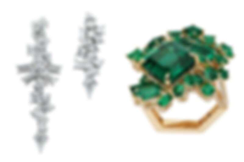 無論是白鑽或是彩色寶石,都在不同的切割與堆疊中,呈現出如在礦脈中結晶的原始樣貌。