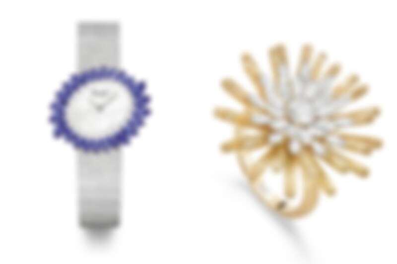 (左)「蔚藍瀑布」藍寶石頂級珠寶腕錶。(右)「永恆之陽」頂級珠寶鑽石戒指。