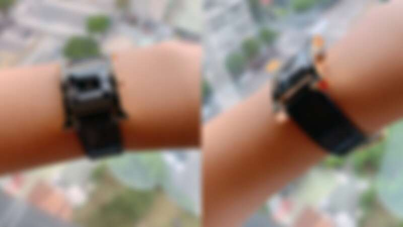 Hermes愛馬仕 H Hour系列 玫瑰金與黑色清漆材質腕錶