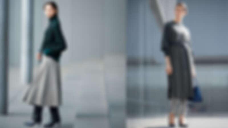 左:寬鬆份量感毛衣X千鳥格A字裙、右:格紋褲X羊毛洋裝