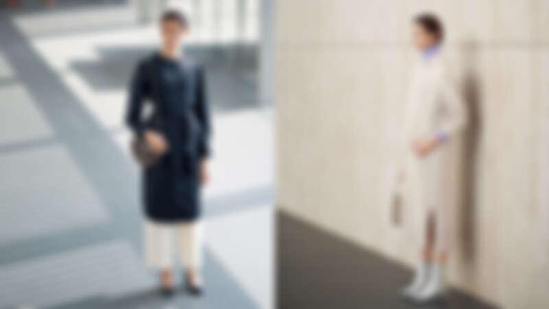 左:襯衫洋裝X寬褲、右:亮色高領毛衣X連帽羊毛洋裝
