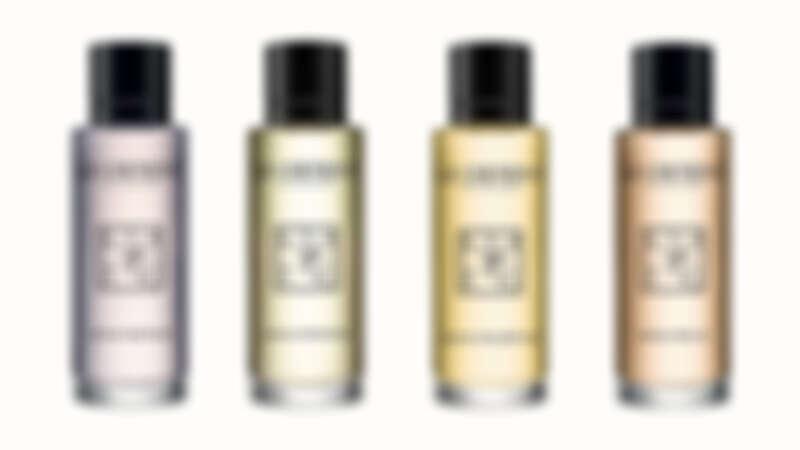 左至右:聖潔之水淡香水、米尼姆之水淡香水、天賜之水淡香水、陽光之水淡香水  共推出10ml/NT350、50ml/NT1,250、100ml/NT2,100容量大小貼心提供挑選。