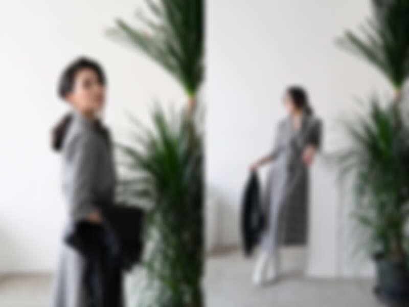 威爾斯親王格紋洋裝 $24,300/流蘇皮外套 $28,900