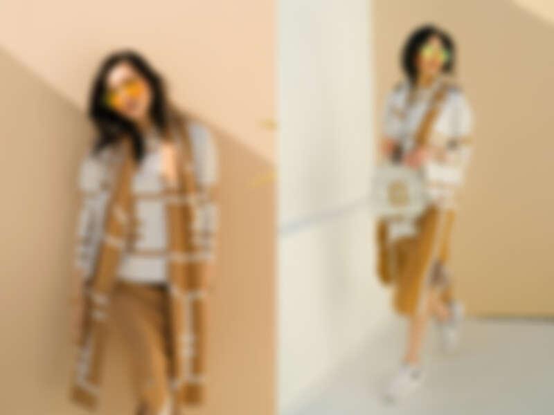 鎖鍊織紋印花上衣 $15,300/運動風針織長裙 $13,300/鎖鍊織紋印花圍巾 $7,300