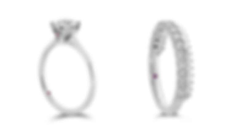 Sloane Silhouette戒指 (白K金 鑽石、粉紅剛玉、主鑽);Sloane Picot All In A Row戒指 (白K金,鑽石、粉紅剛玉)。