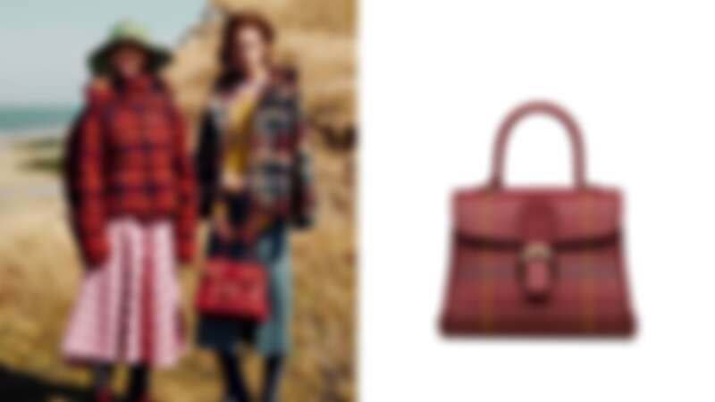 DELVAUX勃根地酒紅蘇格蘭紋中型牛皮手提包,NT218,600