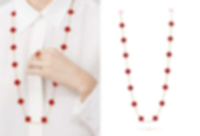 Vintage Alhambra 20枚紅玉髓墜飾黃K金長項鍊,NT529,000。
