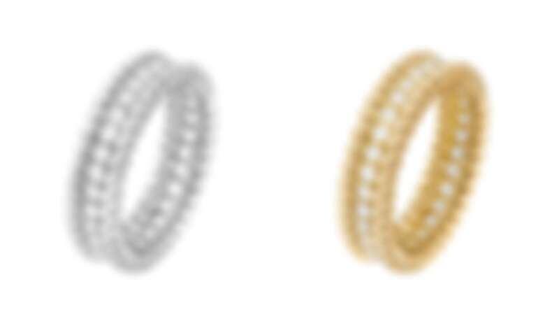由左至右: Perlée diamonds白K金鑽石戒指,約NT245,000、Perlée diamonds黃K金鑽石戒指,約NT231,000。