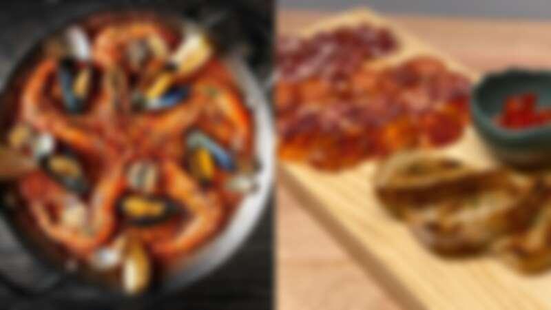時令海鮮風味鐵鍋飯、伊比利冷肉盤