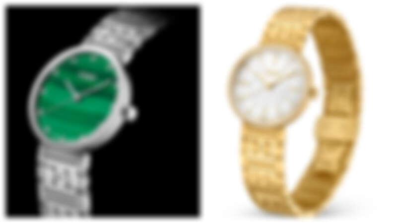 (左)天然孔雀石錶盤鑲嵌12顆鑽石時標腕錶,NT50,500; (右)白色珍珠母貝錶盤鑲嵌12顆鑽石時標和黃金色刻度腕錶,NT84,000