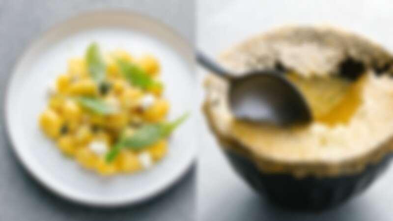(左)地瓜麵疙瘩、(右)甜玉米湯