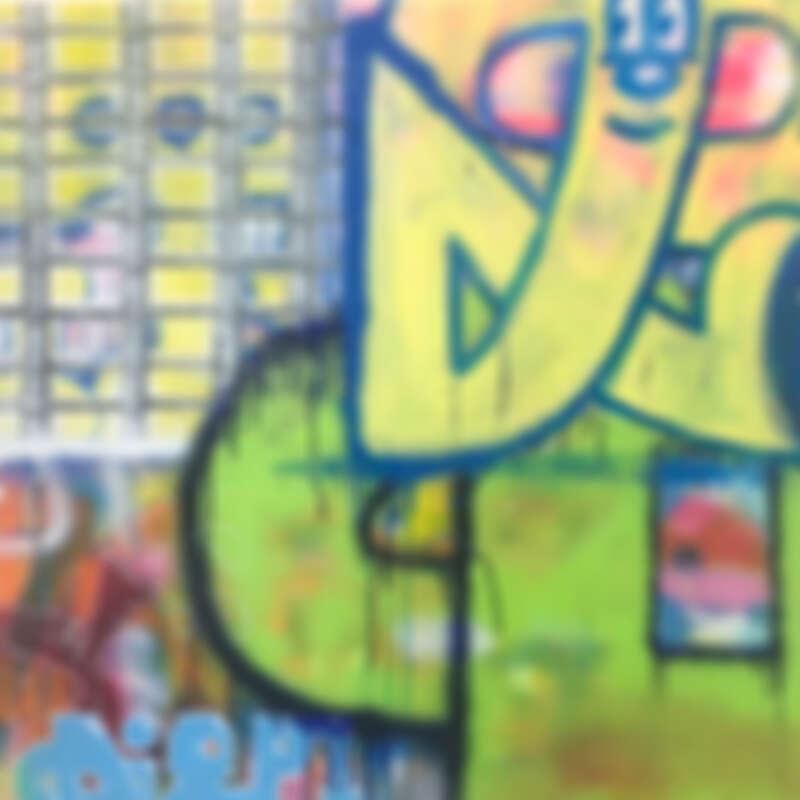 7_L+ Lucie Chang Fine ArtsSneak out T偷偷溜走的T_Acrylic, Aerosol, and Oil Choke on Canvas畫布丙烯、噴漆、蠟筆_80 x 80 cm_2019