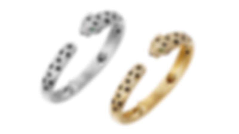 La Panthère黃K金手環、白K金鑽石手環。