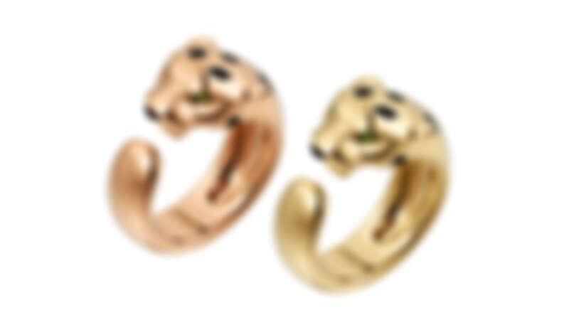 La Panthère 玫瑰K金戒指、黃K金戒指(窄版)。
