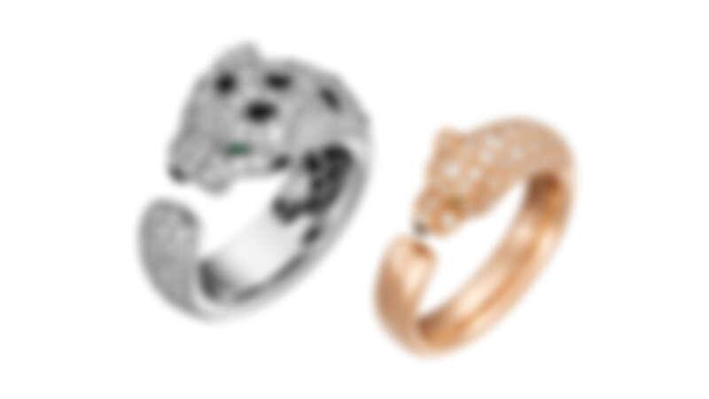 La Panthère 白K金鑽石戒指、玫瑰K金鑽石戒指(窄版)。