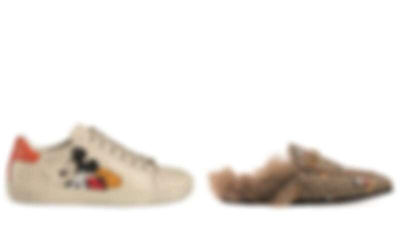 NEW ACE系列 米奇休閒運動鞋 $28,700、PRINCE TOWN 系列 米奇毛絨拖鞋 $27,500