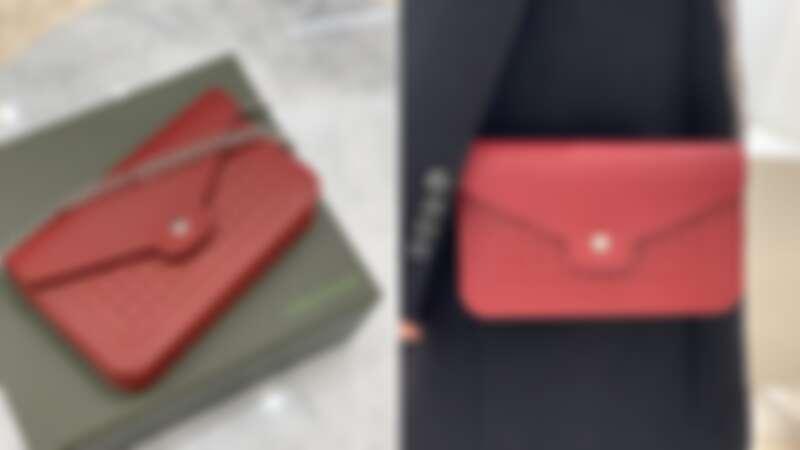 LONGCHAMP 焰紅色長鍊皮夾,NT19,200
