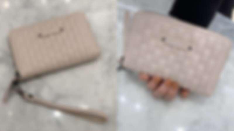 LONGCHAMP 粉色手掛式拉鍊小皮夾,NT9,900