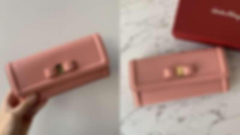 Salvatore Ferragamo粉色牛皮長夾,NT20,900