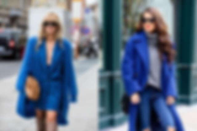 不同剪裁、材質的經典藍大衣展現不同風格(圖片來源:Pinterest)