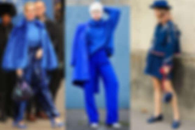 雖然都是藍色,不同材質的藍搭配起來也可以很有層次(圖片來源:Pinterest)